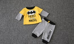 Wholesale Fleece Set Boy - Winter Baby Clothes Batman Boys Two Piece Sets Cotton Fleece Long Sleeve Tshirt and Pants Infant Clothing