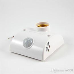 Wholesale Automatic Light Lamp - Infrared Motion Automatic Sensor Light Lamp Bulb Holder Stand Switch White PIR E27 Lamp switch E27 Holder Socket AC170V-250V