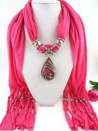Wholesale Wholesale Polyester Resin - Wholesale- 2016 Fashion Vintage Bohemian Big Resin Water Drop Pendant Solid Polyester Long Tassel Scarves Necklace for Women (LK0376)