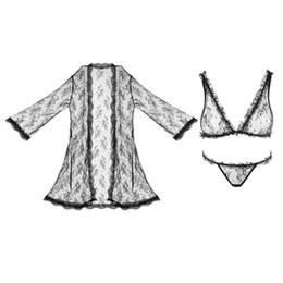 Wholesale Womens V Strings - Bra Sets Nightgown Sexy Black Rose Lace Wireless Triangle Bra G-string Erotic Jacquard Underwear Pajamas Valentine Womens Long Sleeves Soft