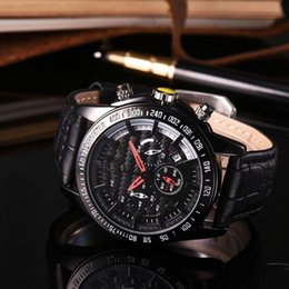 Wholesale Valentines For Men - AAA man watch all dials working luxury brand Stopwatch Leather strap quartz wrist watches for men male Valentine Gift clock Montre Homme