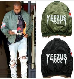 Wholesale Young Mens Winter Jackets - MA1 Bomber Flight jacket KANYE WEST tour jackets limit edition young mens hip hop streetwear Warm winter coats