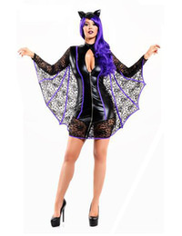 Wholesale Vampire Bat Costumes - Unique Black Women Bat Cosplay Costume Fancy Dress With Wings Halloween Party Outfit Carnival Sexy Vampire Costume