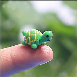 Artificiale Carino Verde Tortoise Animali Miniature Miniature Mini Gnomi Moss Terrariums Resina Artigianato Figurine per Decorazione Giardino da