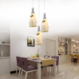Wholesale Led Pattern Glasses - E27 Flower Pattern LED Pendant Lamps Brief AC 180-260V LED Pendant Lights with Metal Glass for dinning Room