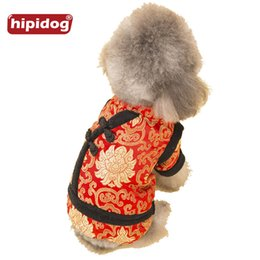 Wholesale Pet Tang Suit - Hipidog Doggies Chinese Traditional Tang Suit Coat Parkas Jumpsuit Autumn Winter Warm Clothes for Small Dogs Pet Dog Supplies