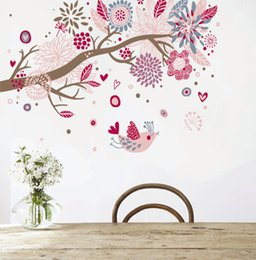 Wholesale Bird Live Wallpaper - 60*90cm Wall Stickers DIY Art Decal Removeable Wallpaper Mural Sticker for Bedroom Living Room AY909 Bohemia Style Tree and birds