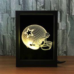 Wholesale Dallas Cowboys Lamp - 3D Dallas Cowboy LED Photo Frame Decoration Lamp IR Remote 7 RGB Lights DC 5V Factory Wholesale Drop Shipping