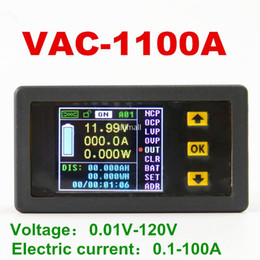 Wholesale Multifunction Power Meter - Freeshipping Color Multifunction Digital LED VAC1100A power meter Monitor Coulomb Counter 120V 100A For voltage current power capacity watts