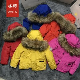 Wholesale Kids White Faux Fur Coats - Thick Winter children jackets Girls Boys Coats Hooded Faux Fur Collar Kids Outerwear Cotton Padded Baby Girl Boy Snowsuit