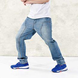 Wholesale Jeans Cargo Capris - Wholesale-Loose Denim Pants American Style Jeans Mens Fashion The Fat Guy Wide hip-hop Skateboard Long Trousers Big Yards 30-46