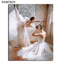 Wholesale Ballet Oil - Oil Painting Frameless Picture Painting By Numbers Ballet Girl DIY Digital Canvas Oil Painting Home Decor For Living Room G399