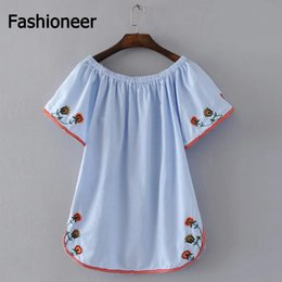 Wholesale Embroidery Cotton Dress For Women - Fashioneer Dress For Woman Embroidery Flower Slash Neck Off Shoulder Cotton Short Sleeve Pleated Summer Dresses For Women Lady S-L Size