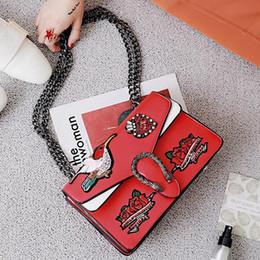 Wholesale Embroidered Buckles - luxury handbags women bags designer flower bird Embroidered bag famous brands Dragon buckle chain shoulder messenger bags flap