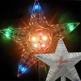 Wholesale Festival Lights For Sale - Wholesale-New Hot Sale Beautiful Color Changing Christmas Xmas Tree Topper Star Light LED Lamp for Festival Indoor Outdoor Decoration