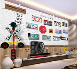 Wholesale Classic Licenses - 3d wallpaper custom photo mural Nostalgia car license plate TV sofa background wall painting 3d wall murals wallpaper for walls 3 d