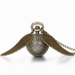 Wholesale Women Watch Chain Long - Wholesale-Hot New Vintage Bronze Punk Steampunk Quartz Pocket Watch Wings Long Chain Necklace Clock For Women