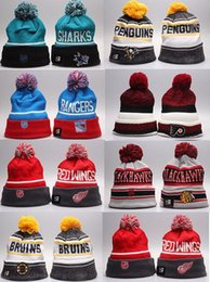Wholesale Skull Caps For Summer - NHL Ice Hockey Caps Winter Beanie Hats for Men Knitted Wool Hat Gorro Bonnet with Pittsburgh Penguins Chicago Toronto Blue Jays Warm Cap