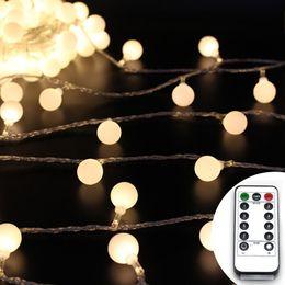 Argentina 5M 50 LED 10M 100 LED Globo cuerda luces batería Powered luz de hadas de la secuencia con el temporizador a distancia Christmas Garden Party luces del patio cheap christmas lights batteries timer Suministro