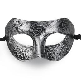 Wholesale Cool Fancy Dress - Wholesale- MUSEYA Cool Adult Men Greek Roman Fighter Masquerade Face Mask for Fancy Dress Ball   Masked Ball   Halloween (Silver)