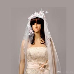 Wholesale Korean Wedding Veils - 2016 Hot Sale Voile Mariage free Shipping Korean Brides Hand Wreath Veil Wedding Headwear Accessories Sweet Fairy Beauty Hair Modelling Yarn