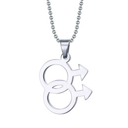 Wholesale Pride Charms - Fashion Male Logo Gay Pride Pendant Jewelry 316L Stainless Steel Pendant Necklaces Gay Jewelry PPN-001
