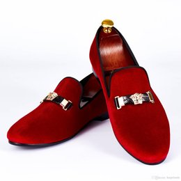 Wholesale Prom Shoes Red Dress - Harpelunde Woven Leather Buckle Dress Shoes Red Velvet Loafers Men Prom Flat Shoes Free Shipping Size 6-14