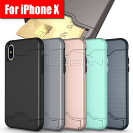 Wholesale Tpu Hard Plastic - Card Slot Phone Case For iPhone X 8 Armor case hard shell back cover with kickstand case for iphone 6 6 plus 7 7 plus samsung s8 s8 plus