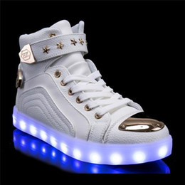 Wholesale Neon Casual Shoes - High Top led Shoes men Light Up Luminous neon basket Superstar Sneaker Boots men shoes nmd tenis Casual Hot Fashion colorful usb charging