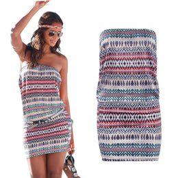 Wholesale Girls Hot Night Dresses - Wholesale- 2017 Fashion New Sexy Women Summer Short BOHO Dresses Hot Girls Off-Shoulder Bodycon Beach Dress Sundress plus size vestidos