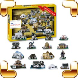 Wholesale Paper House Models - New Year Gift Global House 3D Puzzle Different Country Building Puzzle Model House DIY PUZ Build For Fun Paper PCS Toys Present