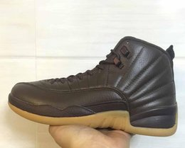 Wholesale Chocolate Box Pvc - Drop Shipping Air Retro 12 Chocolate PE With Real Carbon Fiber Men Basketball Shoes Size 41-47 Ship With Box