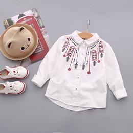 Wholesale Embroidered Shirts Girls - 2017 new autumn fine children's clothing children's children embroidered cotton long-sleeved shirt girls fashion shirt