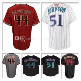 Wholesale Black Paul Goldschmidt Jersey - Men's 44 Paul Goldschmidt 51 Randy Johnson Baseball Jerseys Paul Goldschmidt 51 Randy Johnson Jersey Embroidery and 100% Stitched