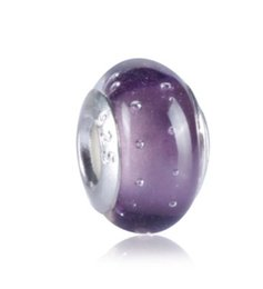 Wholesale Boutique Easter - 10 Pcs 925 Sterling Silver Violet boutique Handmade Lampwork Murano Glass Charm Beads Big Hole Bubble For Pandora European Jewelry Bracelet
