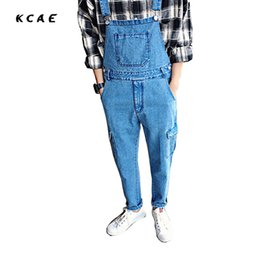 Wholesale men s button suspenders - Wholesale- Brand 2017 Plus Size M-XXL Blue Denim Jumpsuit Men Autumn Spring Overalls Jeans Male Harlan Suspender Bib Pants
