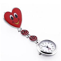 Wholesale Hanging Pocket Watch - Wholesale-2016 New Fob Watch Red Heart Shape Quartz Movement Nurse Brooch Tunic Pocket Watch Fashion Women Girl Clip Hanging Watches