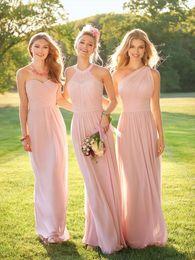 Wholesale Cheap Brown White Dresses - 2017 Blush Pink Cheap Chiffon Bridesmaid Dresses Halter Neck Floor Length Pleats Maid of Honor Dresses Custom Made