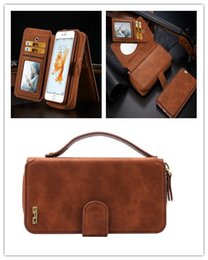 Wholesale Iphone Wallet Case Zipper - New Wallet Case For Samsung S7 S7 edge For iphone 7 6S Leather Zipper Purse Multifunction Wallet Flip Stand Wallet with Card Slots