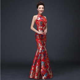 Wholesale Qi Pao Long - Chinese Traditional Dress Red Qipao Oriental Evening Dress Women Backless Cheongsam Robe Chinoise Vestido Chines Long Qi Pao QL