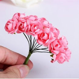 Wholesale Wedding Mini Paper Roses - Wholesale- 144PCS Artificial Paper Rose Flower Buds Mini Bouquet Party Wedding Decoration #587