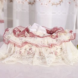 Wholesale Lace Tissue Box Covers - Wholesale- Rural Style Tissue Box Paper Cover Lace Skirt Cloth Art Married Household Paper Towels Box