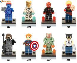 Wholesale Plastic Skull Figures - 480pcs lot X0109 Marvel Super Heroes figures Captain America,Wolverine mystique,Red Skull Building Blocks Toys