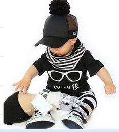Wholesale Childrens Casual Wear - Retail Ins baby clothing Sets Baby Boy Summer Suits Childrens Clothing Set Kids Casual Wear Children Set Baby Clothes