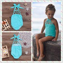 Wholesale Net Bathing Suits - Summer Baby Girls Swimwear Swimsuit Bathing Suit Beachwear Solid Color Blue Fishing Net Bowknot Swimsuit One-iece