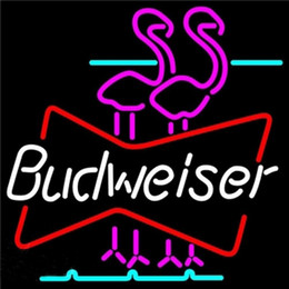 Budweiser Double Flamingos Neon Sign fatto a mano su misura Real Tube Tube Store Beer Bar KTV Club Party Display pubblicitario Neon Signs 17