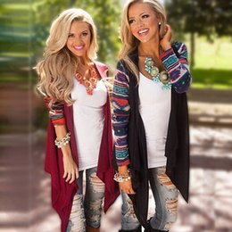 Wholesale Crochet Poncho Wholesale - Wholesale- Casual autumn open stitch aztec cardigans women black red geometric pattern Knitted women irregular sweaters capes and ponchoes