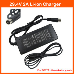 Wholesale Battery For Ebike - 29.4V 2A Li ion Battery charger RCA Port 24V 2A for 24V 7S Lithium Li-ion ebike bicycle electric bike battery charger
