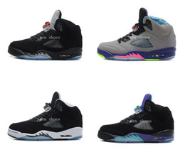Wholesale Fresh M - Retro 5 V Basketball Shoes For Men Space Jam Green 5s Black Grape Oreo Leather Black Fresh Prince Colour Athletics Sports Sneakers With Box