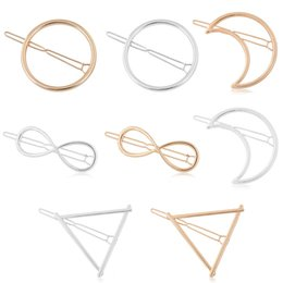 pinces à cheveux rondes Promotion 8 Style Or Argent Hommes Femmes Fantaisie, Ronde, Triangle, Half Moon Alpin Épingle à cheveux Malleall Hair Ornament Hairpin Hairline